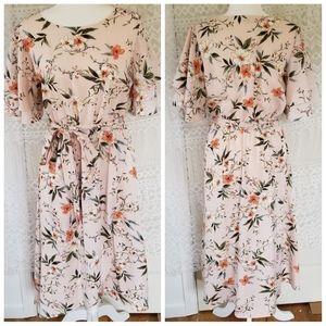 Floral Blush Ruffle Flowy Tie Belt Dress NWOT